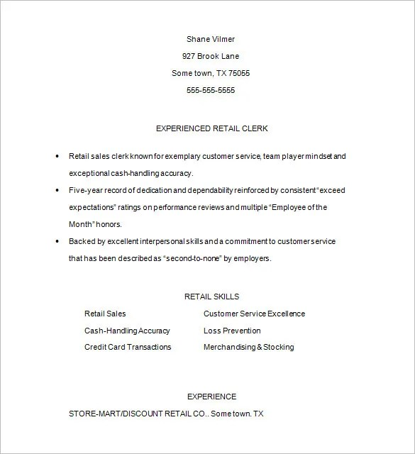 Retail Resume Template \u2013 10+ Free Samples, Examples, Format Download - customer service retail sample resume