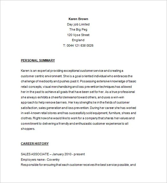 Retail Resume Template \u2013 10+ Free Samples, Examples, Format Download - Free Sample Of A Resume