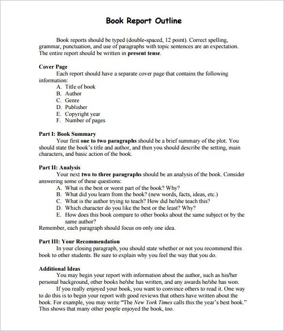 Report Outline Template \u2013 10+ Free Sample, Example, Format Download - the report format