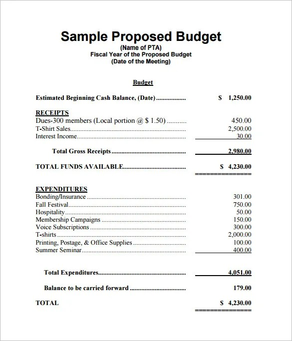 sample budget proposal - Delliberiberi - proposal samples