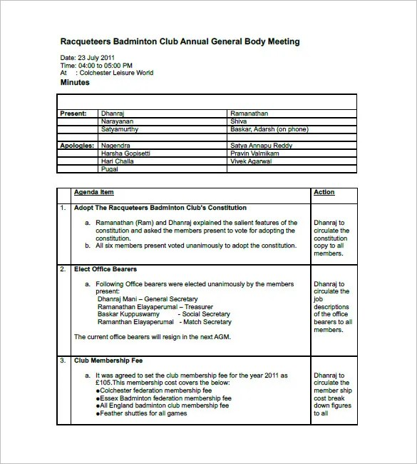 Club Meeting Minutes Templates \u2013 9+ Free Sample, Example Format