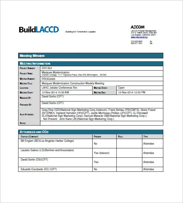 Construction Meeting Minutes Template - 10+ Free Sample, Example