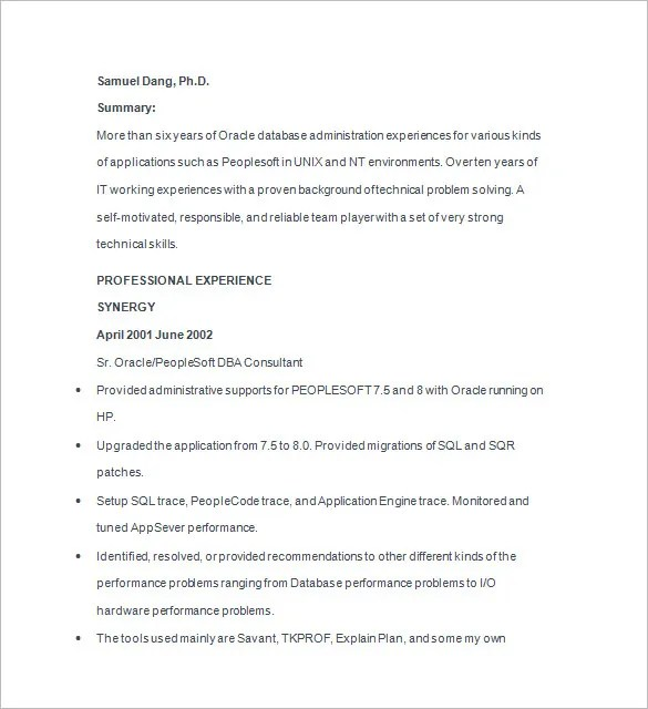 14+ Sample Database Administrator Resume Templates - DOC, PDF Free