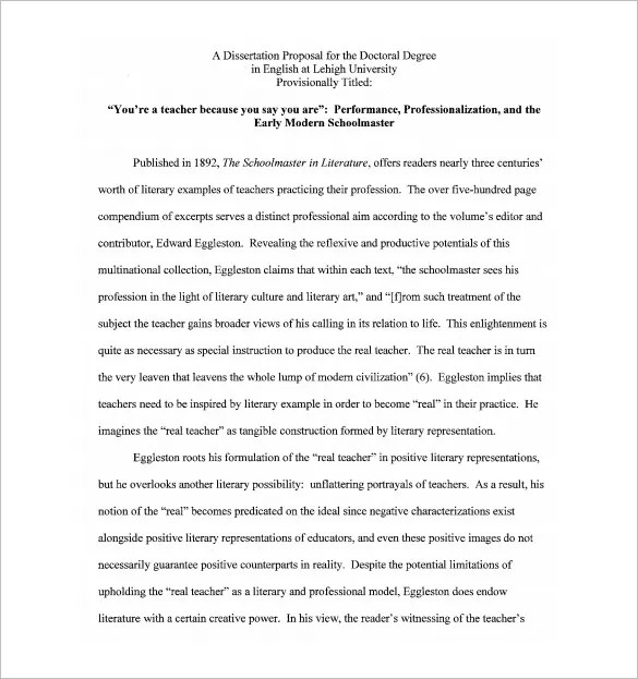 Dissertation Proposal Template \u2013 14+ Free Sample, Example, Format - proposal samples