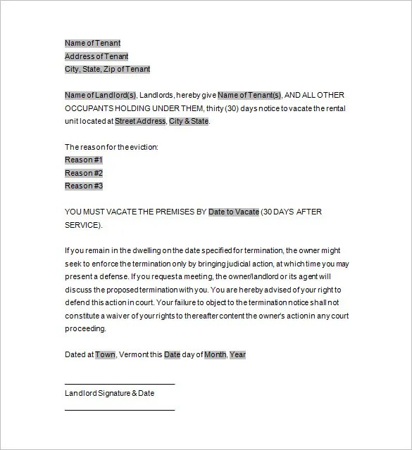 Eviction Notice Example Eviction Notice Template Uk - how to write a eviction notice for tenants