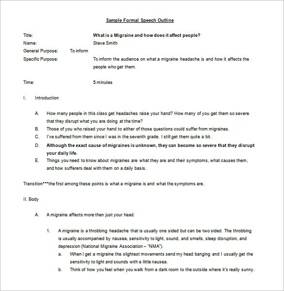Formal Outline Template  NodeResumeTemplatePaasproviderCom
