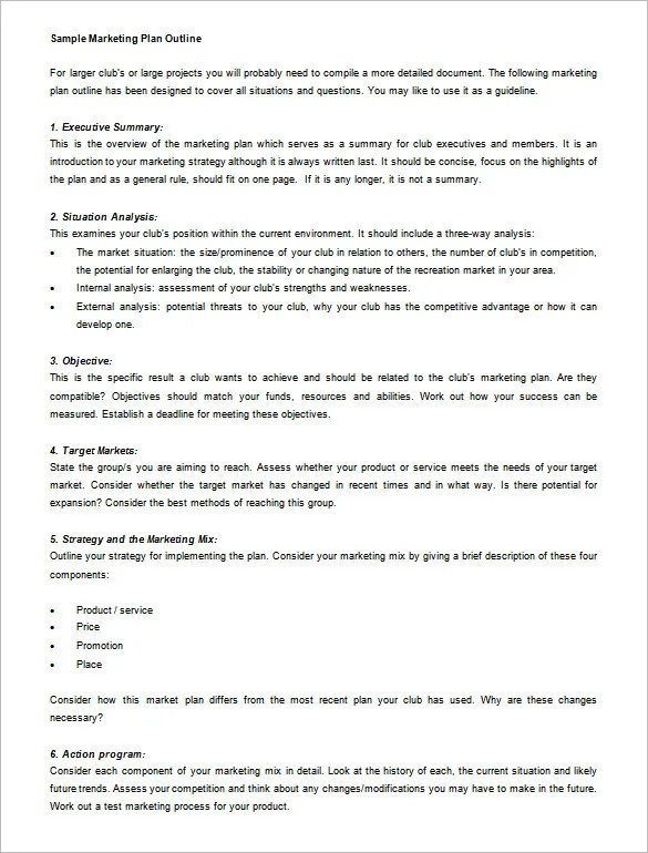 Marketing Plan Outline Template - 13+ Free Sample, Example, Format - Making Smart Marketing Plan