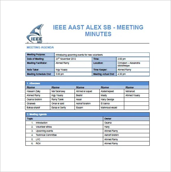 Sample Meeting Summary Template Meeting Notes Template Meeting - minutes of meeting word template