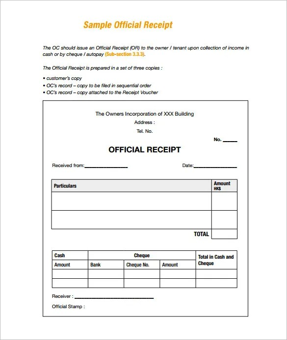 Receipt Template - 122+ Free Printable Word, Excel, AI, PDF Format - cheque payment receipt format in word