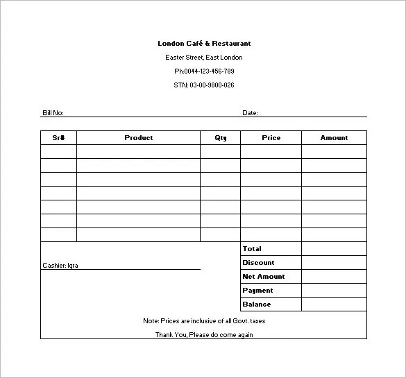food bill template - Onwebioinnovate