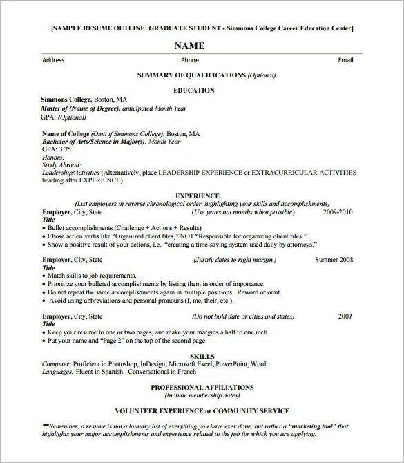Resume Outline Template \u2013 13+ Free Sample, Example, Format Download - resume outline examples