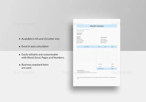 Retail Invoice Template - 12+ Free Word, Excel, PDF Format Download - product invoice template