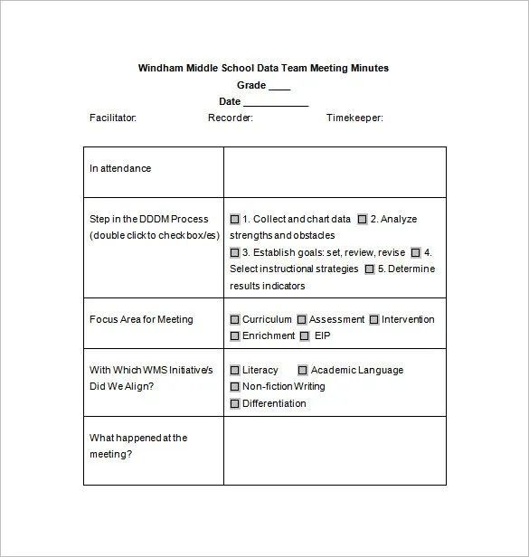 School Meeting Minutes Template \u2013 7+ Free Word, Excel, PDF Format