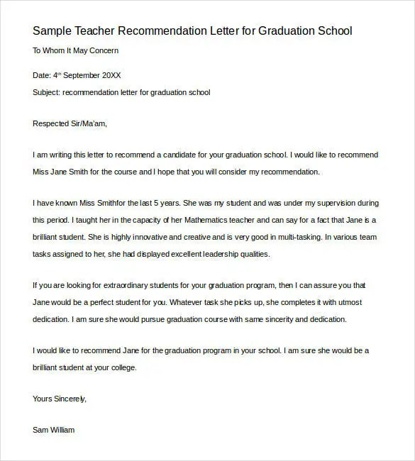 Letters of Recommendation for Teacher - 26+ Free Sample, Example - sample school recommendation letter