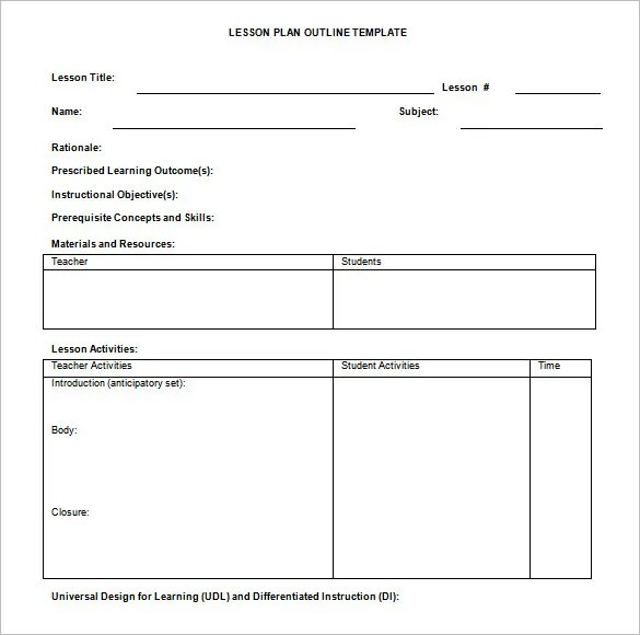 Lesson Plan Outline Template \u2013 10+ Free Free Word, PDF Format - sample simple lesson plan template