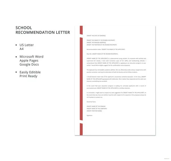 Letter of Recommendation for Graduate School \u2013 10+ Free Word, Excel