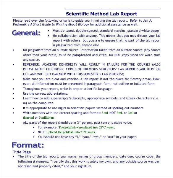 28 + Lab Report Templates - PDF, GOOGLE DOCS, Word, Apple Pages
