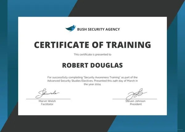 Training Certificate Template - 27+ Free Word, PDF, PSD Format - certificate of training template
