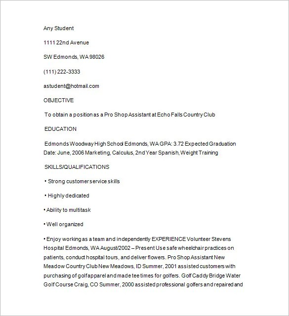 Golf Caddy Resume Template \u2013 8+ Free Samples, Examples, Format - college golf resume template