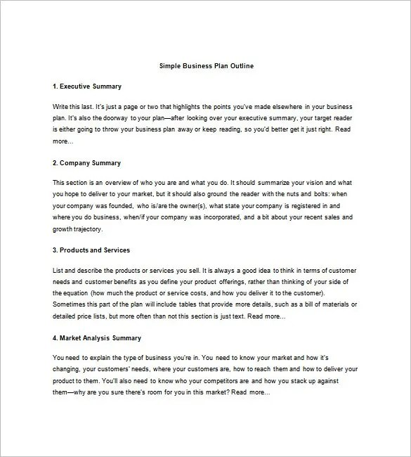 Business Plan Outline Template - 22+ Free Sample, Example, Format - business summary template