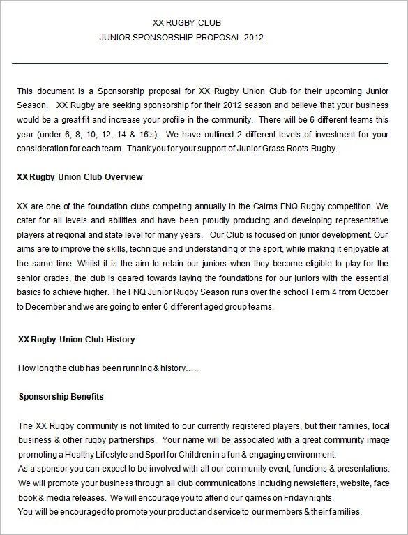 Sponsorship Proposal Template u2013 11+ Free Word, Excel, PDF Format - athlete sponsorship proposal template