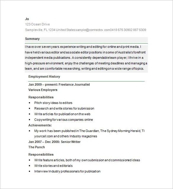 Writer Resume Template \u2013 24+ Free Samples, Examples, Format Download