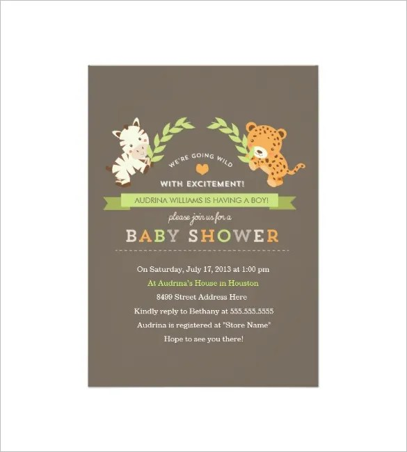 32+ Baby Shower Card Designs  Templates - Word, PDF, PSD, EPS - Baby Shower Invitation Templates Word