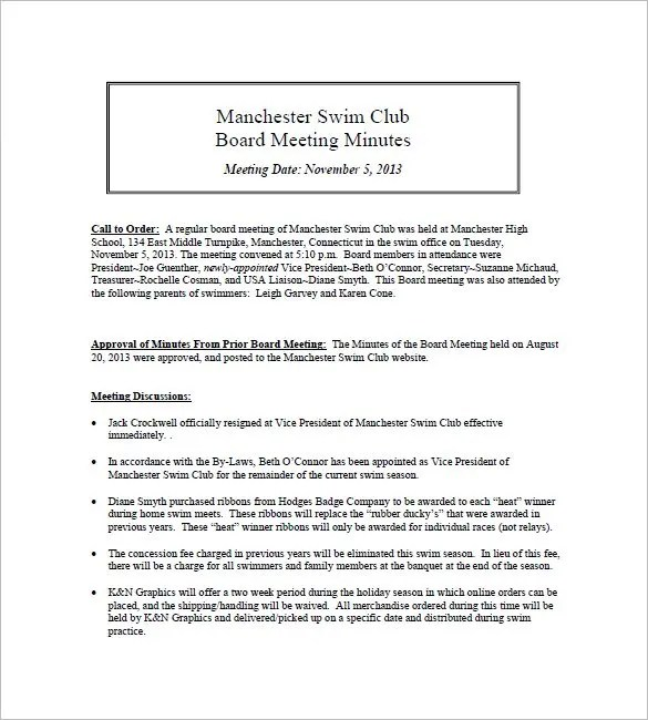 Club Meeting Minutes Template u2013 6+ Free Sample, Example Format - meeting minute format