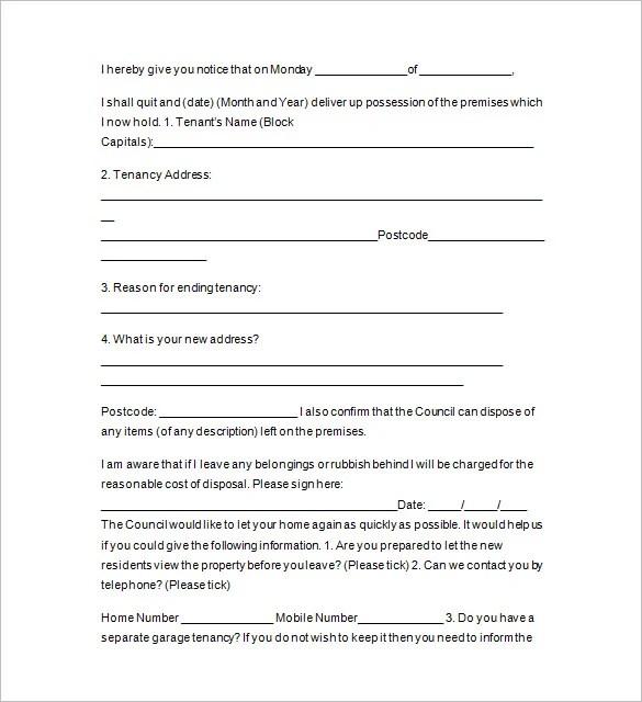 13+ Sample Tenancy Notice Templates - DOC, PDF Free  Premium