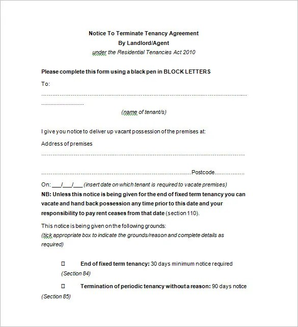 Termination Notice Template - 9+ Free Word, Excel, PDF, Format - termination notice template