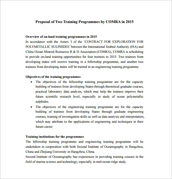 sample training program proposal - Canasbergdorfbib