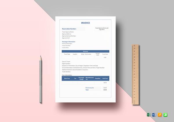18+ Travel Invoice Templates - PDF, DOC, Excel Free  Premium