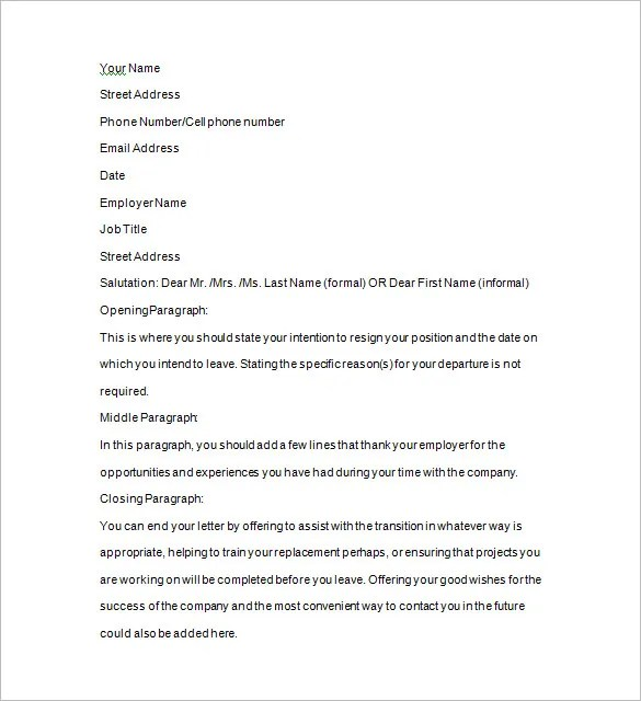 Two Weeks Notice Template u2013 12+ Free Word, Excel, PDF, Format - two weeks notice letter