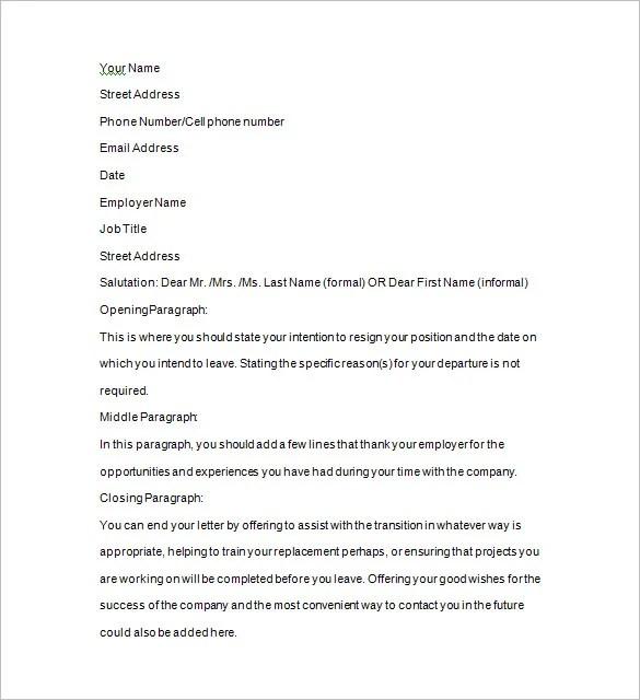 Two Weeks Notice Templates \u2013 14+ Free Word, Excel, PDF, Format