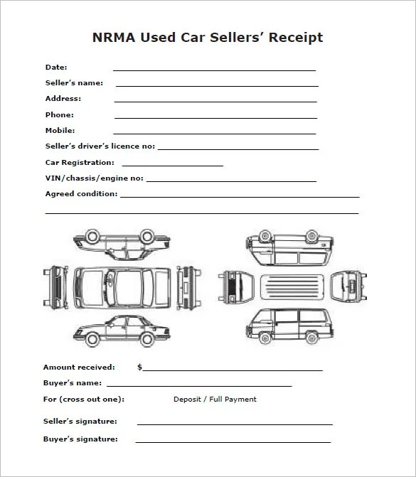 Deposit Receipt Template - 20+ Free Sample, Example, Format - private car sale contract payments