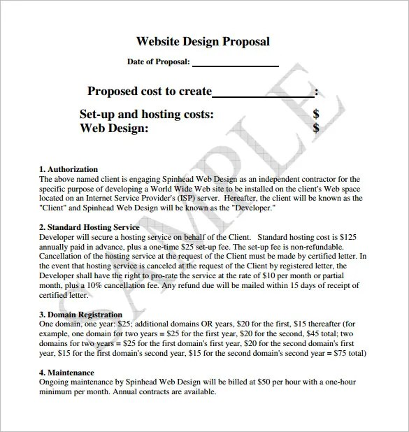 Website Proposal Template Proposal Template u2013 140+ Free Word, Pdf - website proposal template