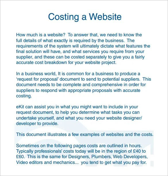 Cost Proposal Template - 17+ Free Sample, Example, Format Download - website proposal sample