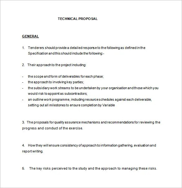 Technical Proposal Templates u2013 21+ Free Sample, Example, Format - proposal example