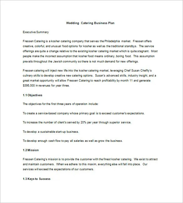 Catering Business Plan Template \u2013 13+ Free Word, Excel, PDF Format