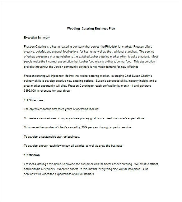 13+ Catering Business Plan Templates - Free Sample, Example Format