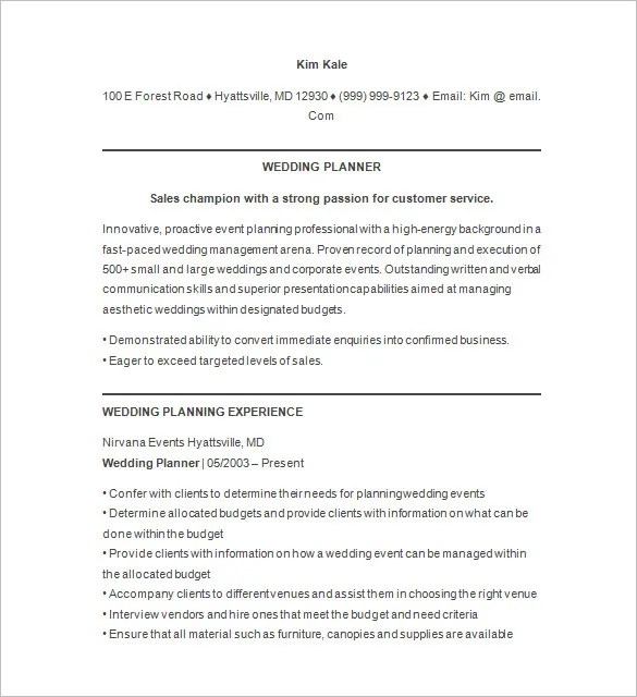 Event Planner Resume Template \u2013 11+ Free Samples, Examples, Format