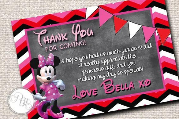 Invitation Card Template Psd 15+ Mickey Mouse Thank You Cards - Psd, Eps | Free