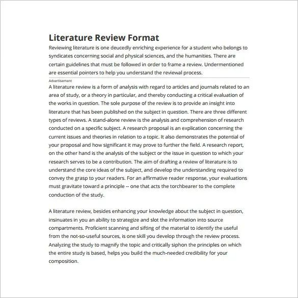 literature review apa format