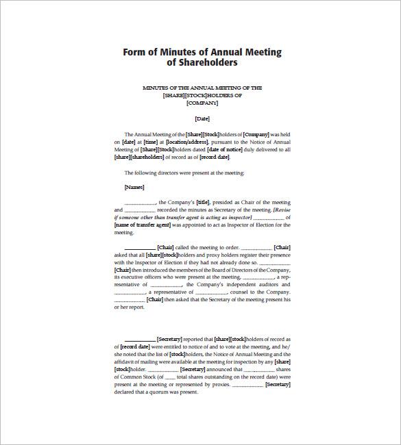 Corporate Meeting Minutes Template \u2013 9+ Free Word, Excel, PDF Format