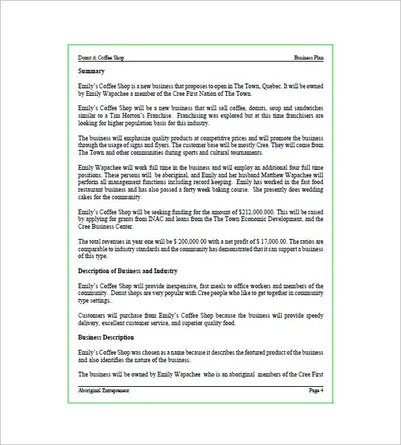 Coffee Shop Business Plan Template u2013 9+ Free Sample, Example - business plans sample