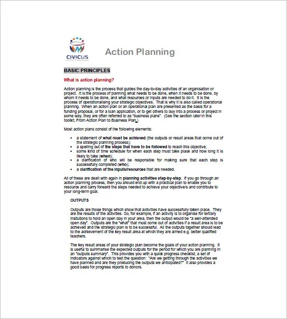 Business Action Plan Template - 6+ Word, Excel, PDF Format Download