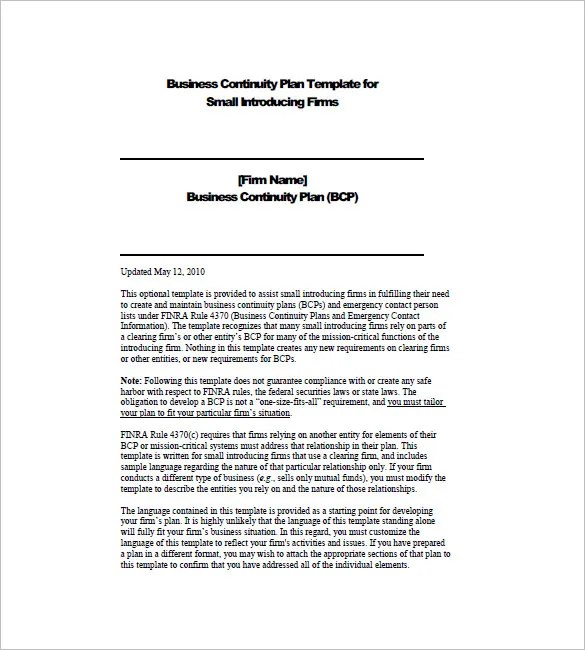 Business Continuity Plan Template \u2013 12+ Free Word, Excel, PDF Format