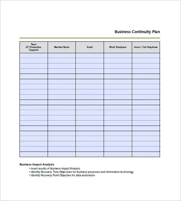 Business Continuity Plan Template Fema | College Application Form