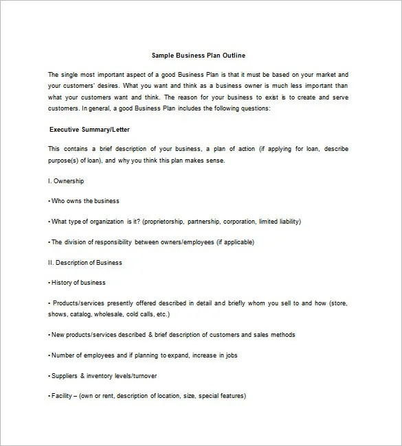 Business Plan Outline Template \u2013 17+ Free Word, Excel, PDF Format