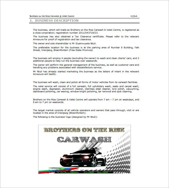 Car Wash Business Plan Sample Executive Summary Bplans Car Wash Business Plan Templates – 8 Free Sample Example